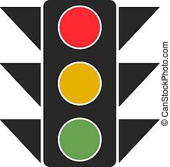 tráfico, blanco, fondo., vector, luz, ilustración
