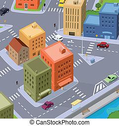 tráfico de la ciudad, caricatura