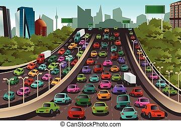 Tráfico en una autopista