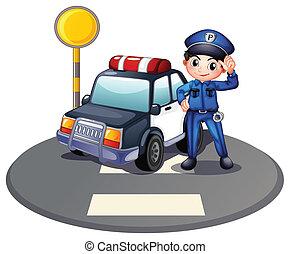 tráfico, luz de automóvil, patrulla, policía
