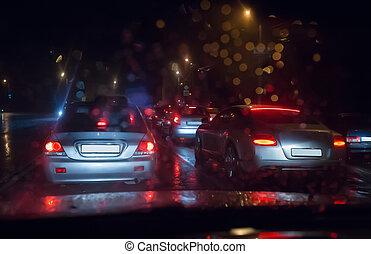 tráfico, mojado, camino
