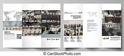 Tríplica de folletos de negocios en ambos lados. Fácilmente editable diseño abstracto en diseño plano. Antecedentes coloridos hechos de textura punteada para viajes de negocios, paisaje urbano.