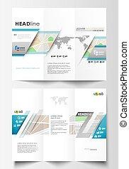 Tríplica de folletos de negocios en ambos lados. Un diseño fácil de editar. Mapa de ciudad con calles. Planta plana para negocios de turismo, ilustración abstracta del vector.