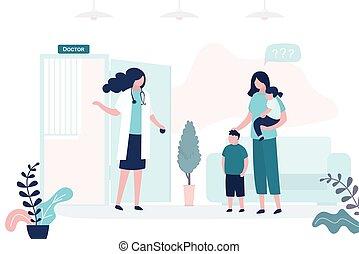 traído, nurse., especialista, médico, niños, hembra, o, pediatrician., mamá, madre, ver, hija, hijo