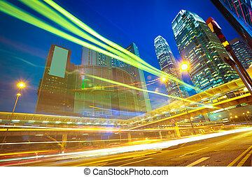 tra, fondos, señal, camino, moderno, edificios, luz, hong kong