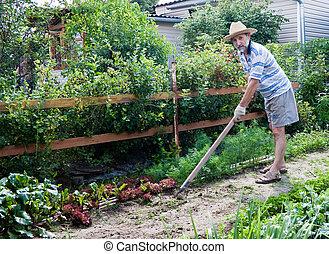 trabaja, jardín