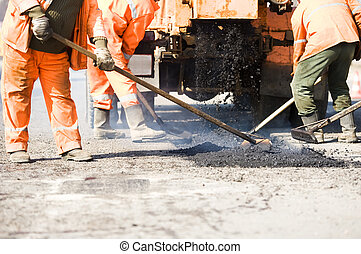 trabaja, pavimentar, asfalto
