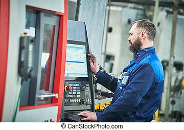 trabajador, cnc, máquina, industria, industrial, mecanizando, metal, operar