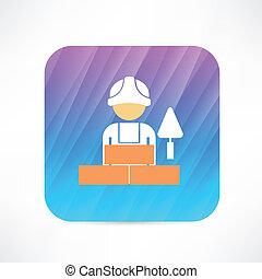 Trabajador con icono de la pala