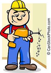 Trabajador con ilustración de dibujos animados