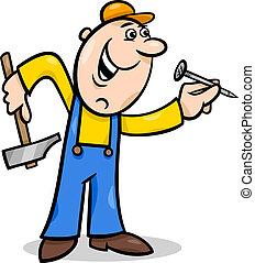 Trabajador con ilustración de uñas