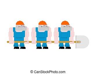 Trabajador con pala. Trabajador con casco y azul en general. Tres trabajadores sosteniendo una gran pala