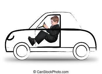 Trabajador conduciendo un coche invisible sobre blanco