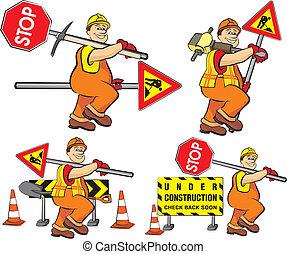 trabajador, construcción, -, camino, debajo
