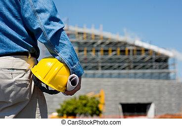 trabajador construcción, sitio
