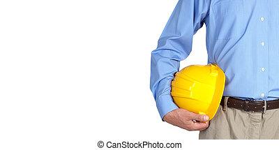 Trabajador de construcción con casco.