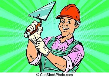 Trabajador de construcción con Trowell