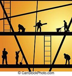 Trabajador de construcción en la ilustración del vector