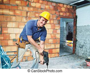 Trabajador de construcción en servicio