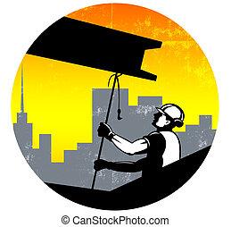 Trabajador de construcción I-beam viga retro