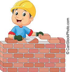 Trabajador de construcción poniendo ladrillos