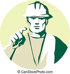 Trabajador de construcción señalando plantilla