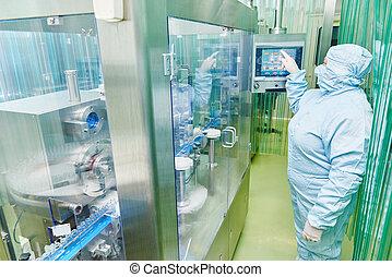Trabajador de fábrica farmacéutica