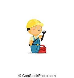 Trabajador de mantenimiento con herramientas
