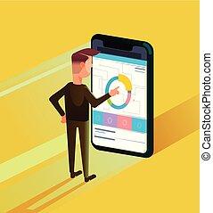 Trabajador de oficinas de empresarios usando smartphone. Diseño gráfico de diseño gráfico