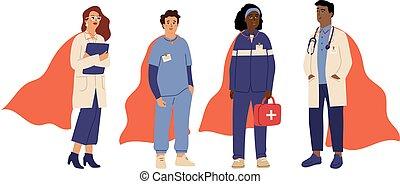 trabajador, doctors, personal, vector, rojo, emergencia, team., capa, héroes, hospital, nurse., superhero, médico, caracteres