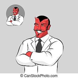 trabajador médico, rasgos, bigote, monstruo, laughs., doctors, coat., infierno, satanás, horrible, blanco, diablo, demonio, doctor., garment., cuernos rojos