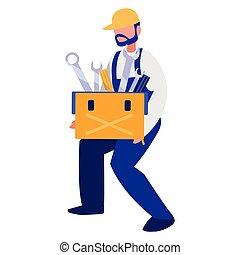 Trabajador mecánico con caja de herramientas