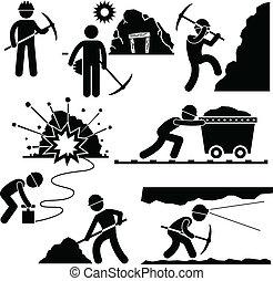 trabajador, minería, trabajo, minero, gente