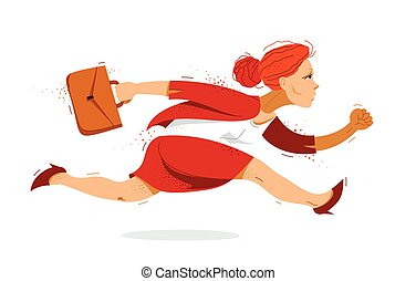 trabajador, mujer de negocios, mujer, lindo, empresa / negocio, contador, empleado, divertido, corra, o, caricatura, apuro, tarde, cómico, rush., ilustración, vector