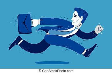 trabajador, negocio chistoso, hombre, caricatura, empleado, ilustración, tarde, hombre de negocios, o, contador, vector, cómico, corra, apuro, rush., lindo
