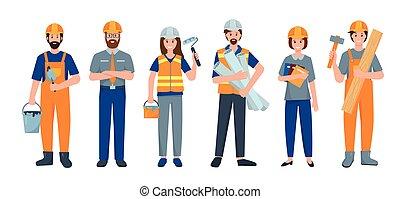 trabajador, o, conjunto construcción, gente, constructor