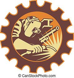Trabajador soldador soldando soplete retro