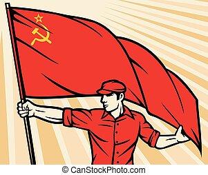 trabajador, tenencia, u.r.s.s., cartel, bandera