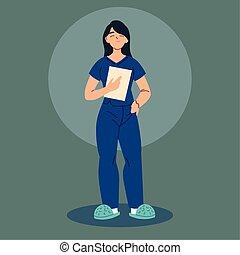 trabajador, uniforme, enfermera, salud, mujer
