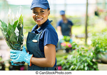 Trabajadora de guardería afroamericana