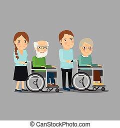Trabajadora social paseando en silla de ruedas