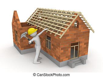 trabajadores, -, carpintero, colección, techo, madera