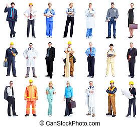 trabajadores, conjunto, personas., empresa / negocio