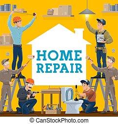trabajadores construcción, casa, herramientas, reparación, trabajo