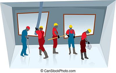 trabajadores, construcción, equipo