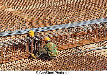 trabajadores de acero, construcción, encuadernación, sitios