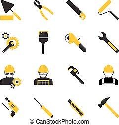 Trabajadores de construcción y iconos de herramientas