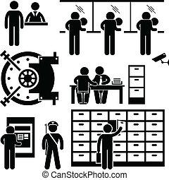 Trabajadores de finanzas bancarios