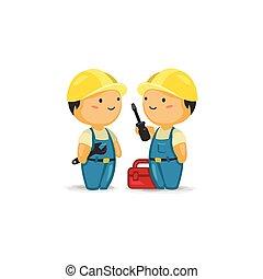Trabajadores de mantenimiento con herramientas