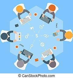 Trabajadores de oficina en reunión e ideas
